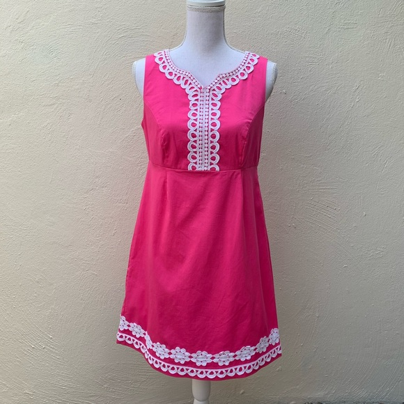 Papagallo Dresses & Skirts - Pappagallo Sheath Dress Pink with white lace